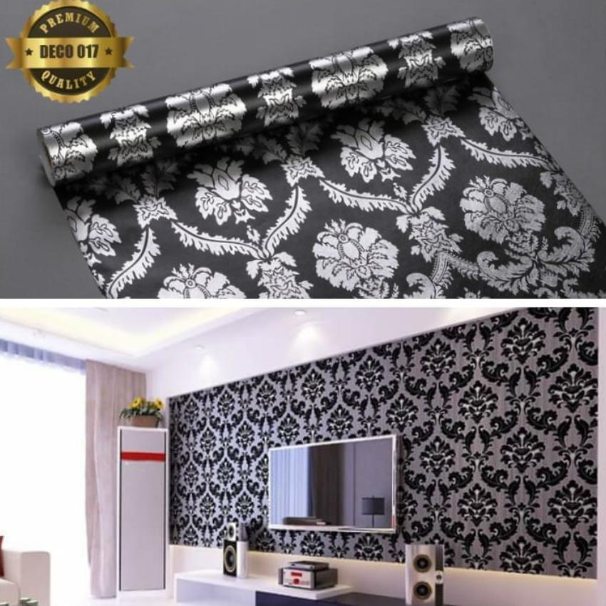 BMS- Walpaper Stiker Hiasan Dinding Batik Silver Size 10M x 45CM