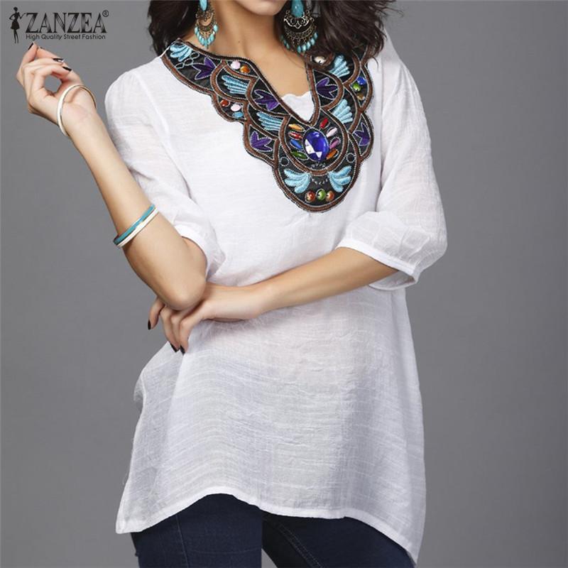 ZANZEA Perempuan V Leher Blus Musim Panas Intan Bordir Wanita 3/4 Model Kemeja Kasual Lengan Baju Panjang And Longgar Puncak Ukuran Better