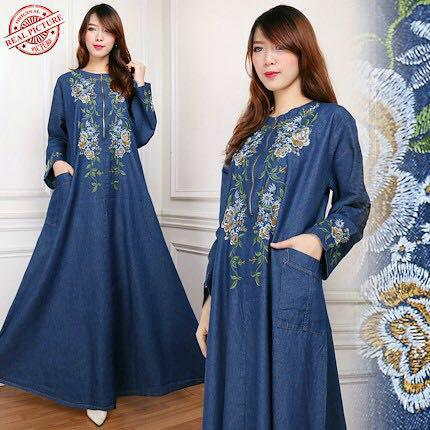 Miracle Dress Maxi Alvira Gamis Jeans Longdress Jumbo Wanita