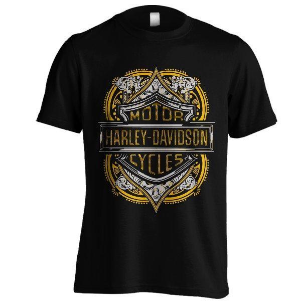 Kaos Harley Davidson Emblem 02 Gold Gy Hitam Baju Distro Motor Cycles Motor Gede Ukuran Besar BigSize XXXL