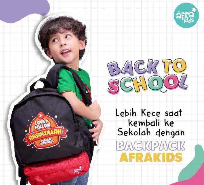 Tas Backpack Afrakids - Love & Follow Rasulullah - Tas Anak yg kuat dan Islami