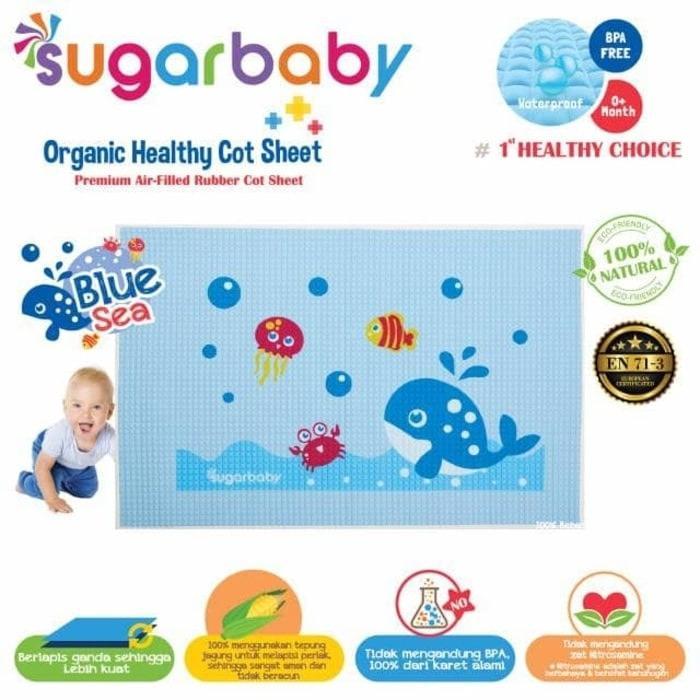 Sugar Baby Perlak Bayi Bahan Karet / Rubbermat 60x90cm Blue Sea By Mykenzie Baby.