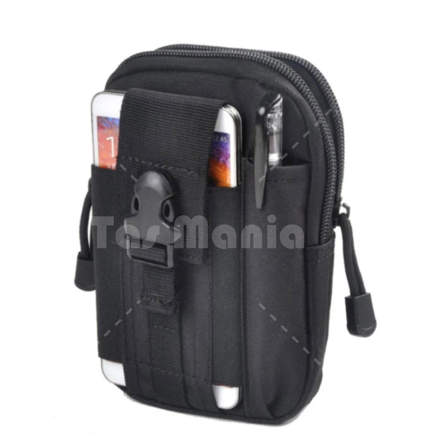 Tas Pinggang Pria Army Tactical Molle Import SA Waist Small Bag Military - Hitam Shoulder Bag Chest Bag Tas Selempang Slempang Cowok Canvas Kanvas Tas HP ...