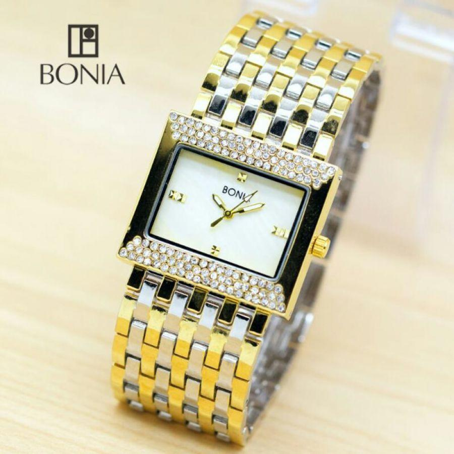 Bonia Ladies Elegant Jam Tangan Wanita Stainless Silver Gold B147 B10066 2125 Tikar Rantai Terlaris