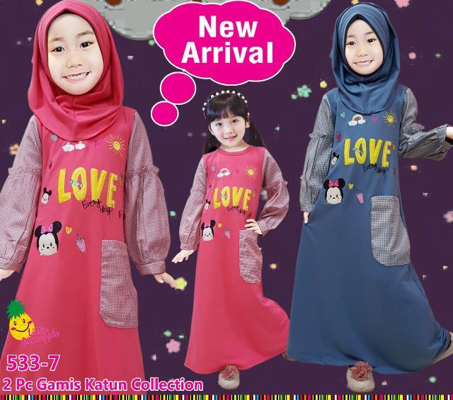 Baju Muslim Gamis Kaos Anak Perempuan Little Pineapple Tsum Love Kotak-Murah