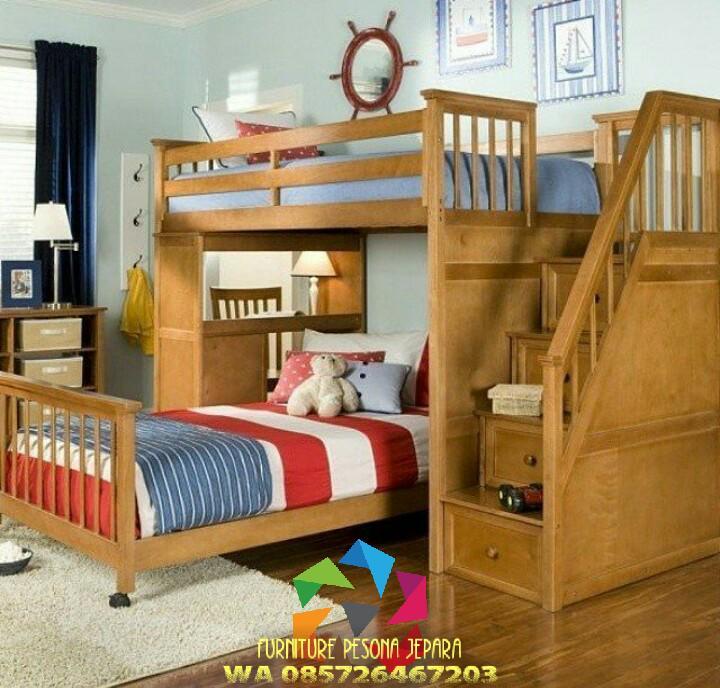 Ranjang susun anak Jati set meja belajar Tempat tidur anak. PESONA JEPARA 40