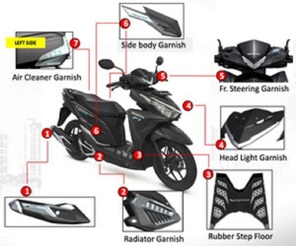 Best Seller Paket isi7Aksesoris Honda Vario 150 125 esp Original / karpet garnish