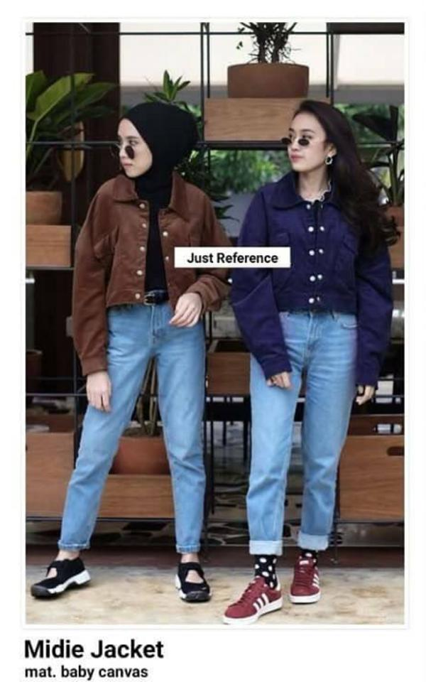 RIA_STORE POCKET MIDIE JAKET NAVY // FASHION JAKET BABYCANVAS WANITA // JACKET FASHION-