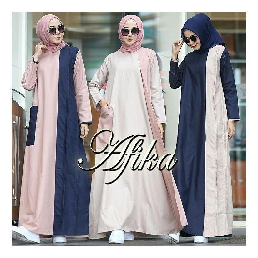 """BC AFIKA"" Maxi Dress Syari Gamis Bahan Balotely Wolfice Katun Rubiah Spandek Panjang Hijab Casual Pakaian Wanita Trand Terbaru Fashionable"