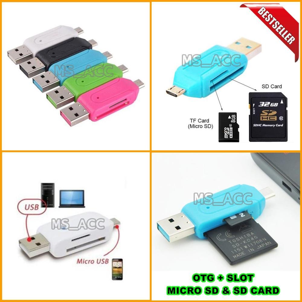 Universal OTG MICRO USB + CARD READER / OTG CARD READER Include Slot Micro Usb + SD Card - Warna Random [ ms_acc ]