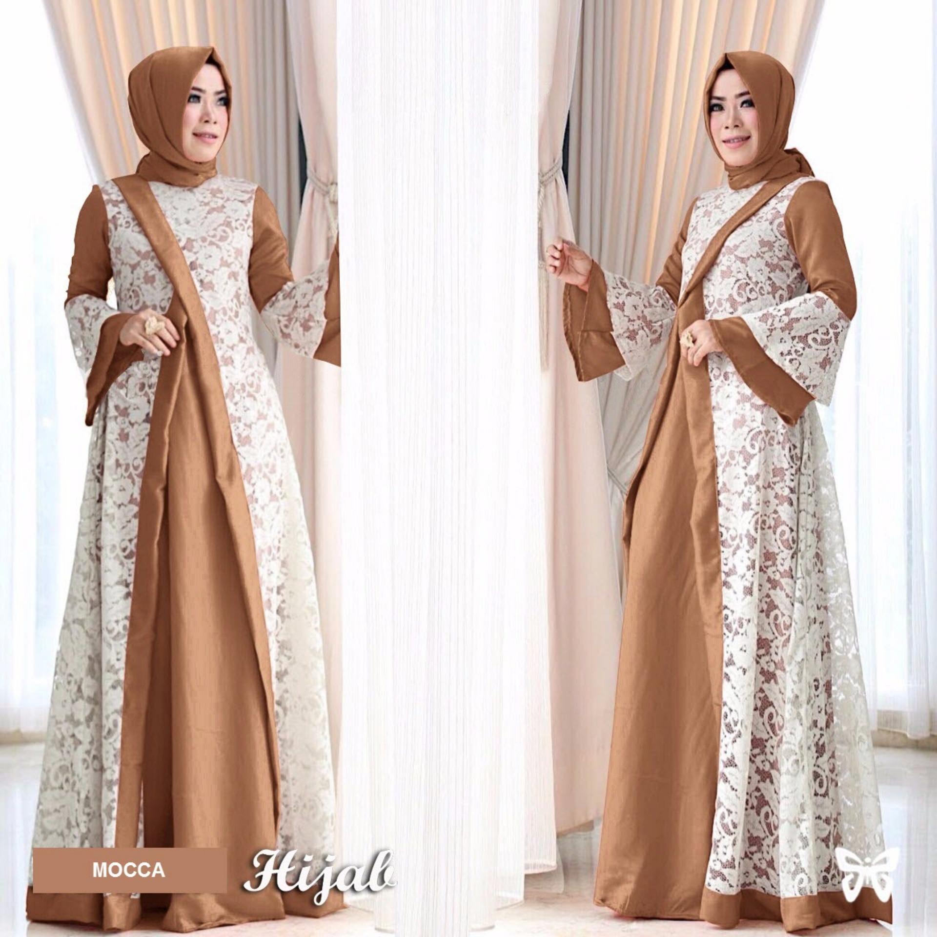 Maxi Dress Lengan Panjang Set 2 in 1 MSR157 / Gamis Syari / Gaun Pesta Muslimah / Baju Muslim Wanit