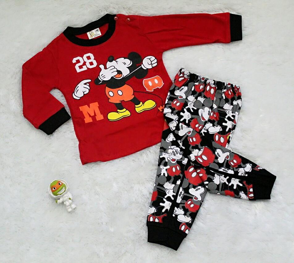 Setelan Piama Baju Celana Bayi Anak - Piyama Mickey / Size S, M dan L