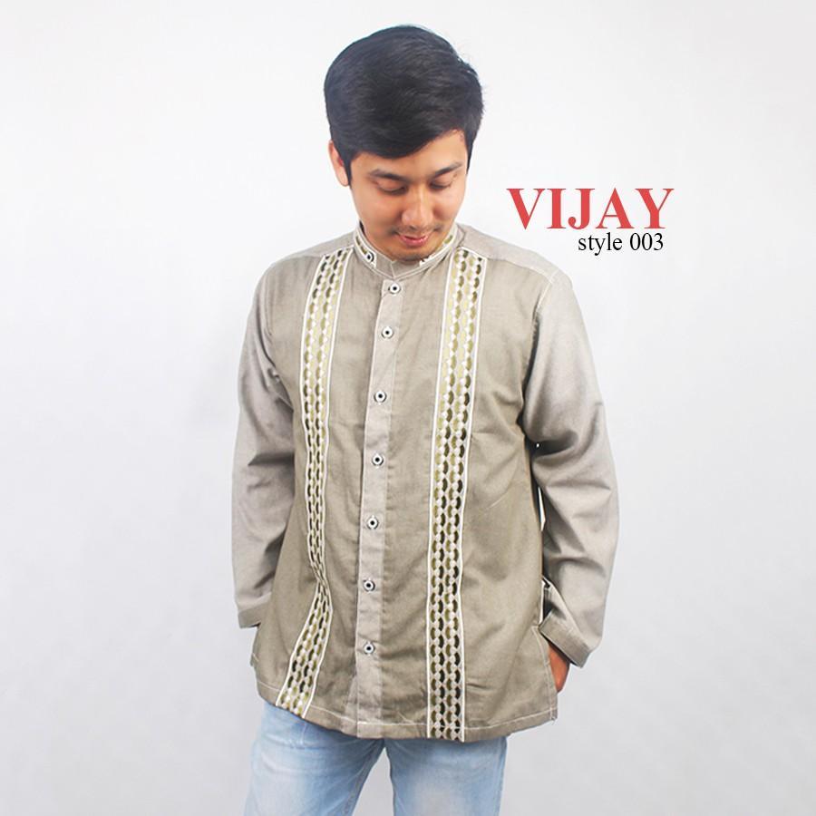 Baju Koko Bahan Jeans Full Bordir Lengan Panjang Vijay Style Warna Zaitun (S)
