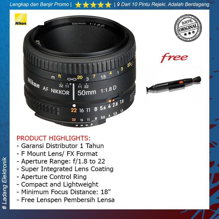 Nikon Nikkor AF 50mm f/1.8D Lensa Kamera ( Free Lenspen Pembersih Lensa ) / Garansi Distributor 1 Tahun