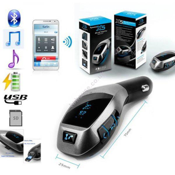 X5 Wireless Car Kit Handsfree Mp3 Player FM Transmitter Bluetooth Car Charger - Silver
