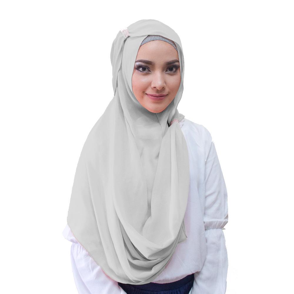 Hana Ring Hijab Kerudung Instan - [Warna Abu Muda]