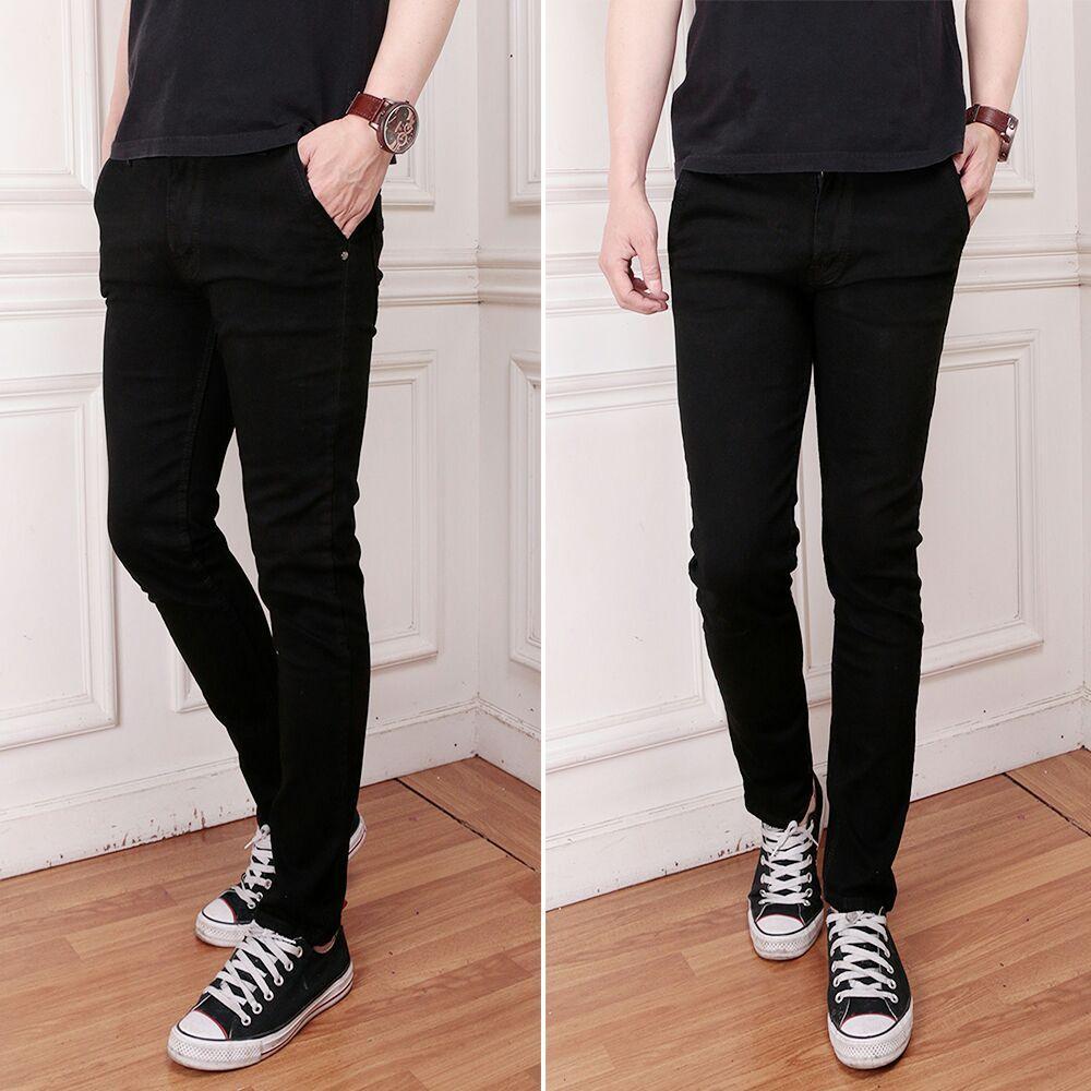 Celana Jeans Pria Branded Terbaik Pensil Skiny Slimfit Denim Hitam Polos Murah