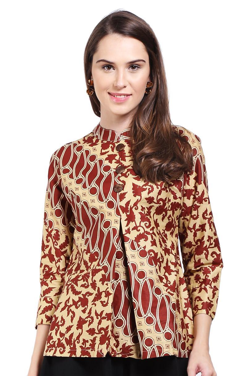 Arjuna Weda Blouse Batik Lereng Seling Cokelat