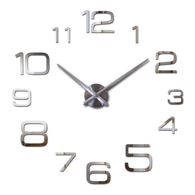 Jam Dinding 3D DIY Giant Wall Clock 90cm Diameter - Model Numeral - 12S022  - Silver b07e12269d