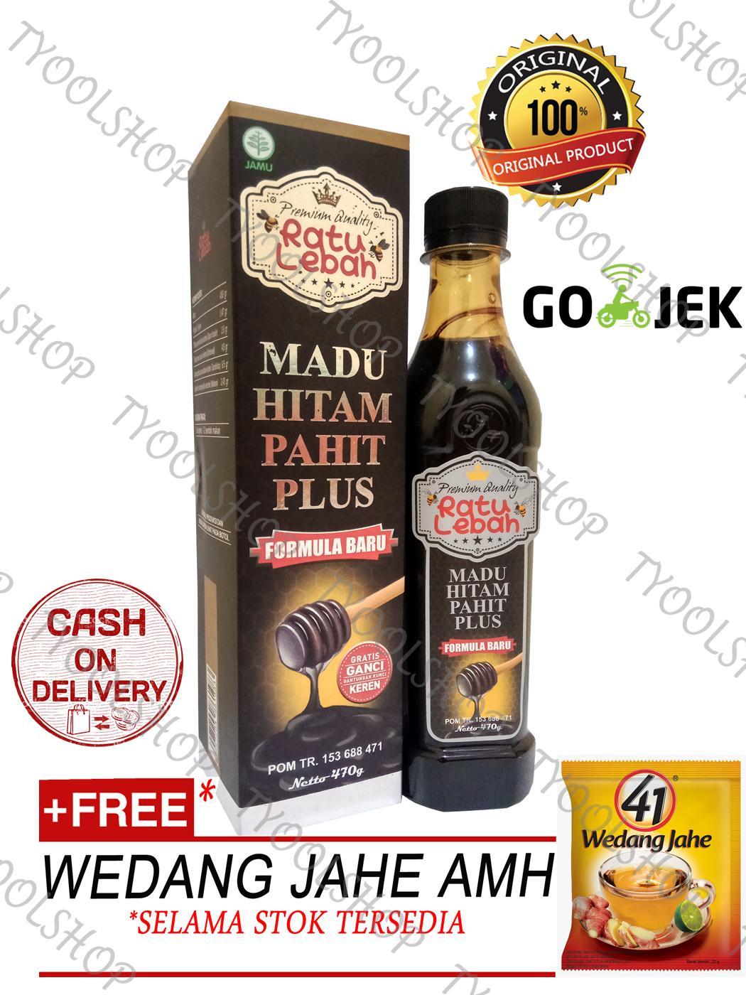 Ratu Lebah Original 100%- Madu Hitam Pahit Propolis - 470gr + Wedang Jahe AMH*