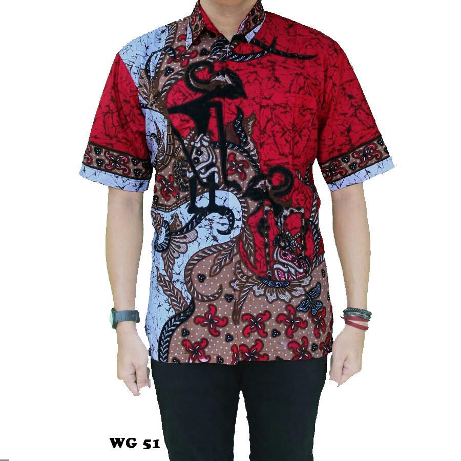Jual Baju Muslim Pria Tebaru Batik Koko Grey M Modern Kemeja Pekalongan Hem Motif Wayang Tumpuk