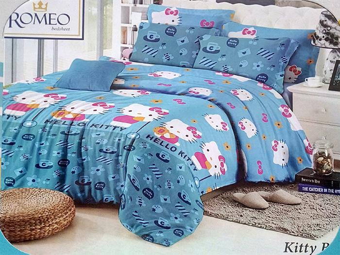 Exclusive Bedcover Romeo ukuran 180 x 200 / King / No.1 - Hello Kitty Blue