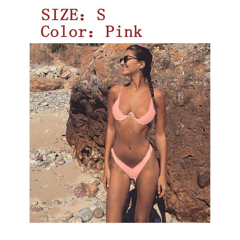 Lady Kepribadian Berkumpul Steel Dukungan Membagi Bikini Swimsuit-Ukuran dan warna tampilan gambar utama-Intl