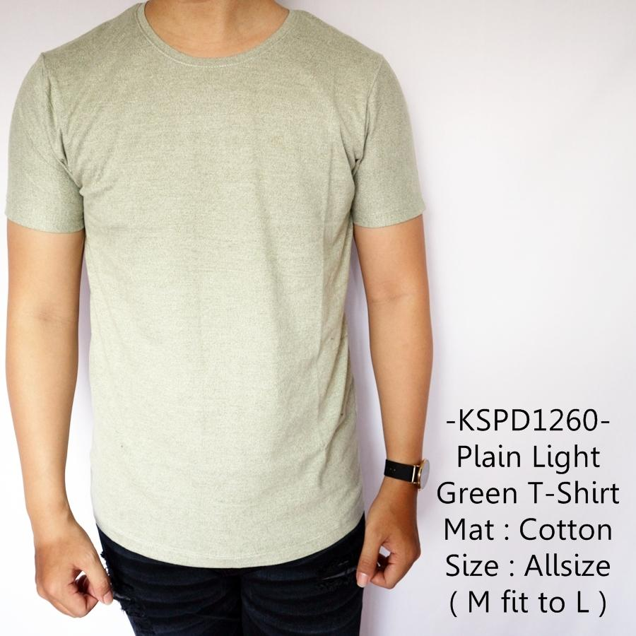 Indofashionpedia Kaos Lengan Pendek Cowok Katun Distro Model Terbaru Plain Light Green T-Shirt - 12