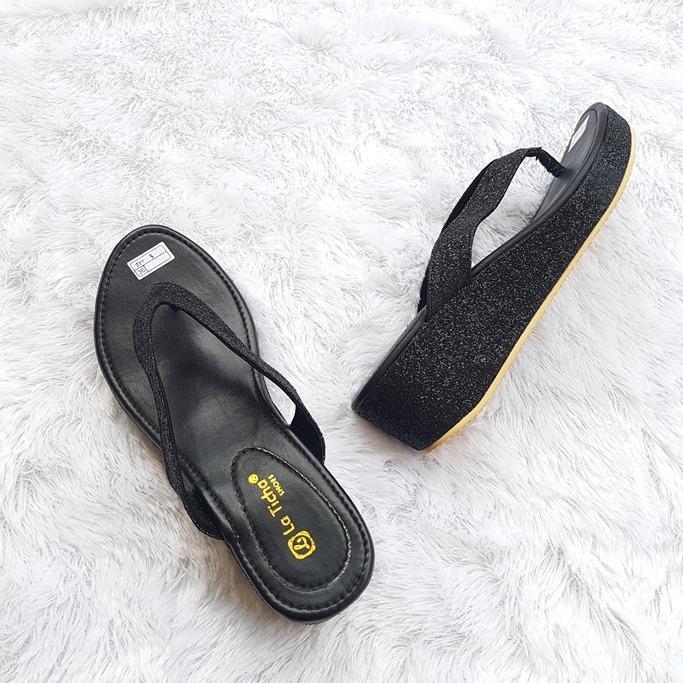 Sandal Wedges & Mule Wanita Terbaru Motif Gliter MD45TICHA02