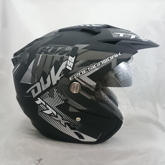 Helm 2 kaca (Double Visor) Murah Black doff Abu Duke DMN || helm kyt / helm bogo / helm full face / helm ink / helm sepeda /helm motor/helm nhk/helm retro/helm anak/helm gm