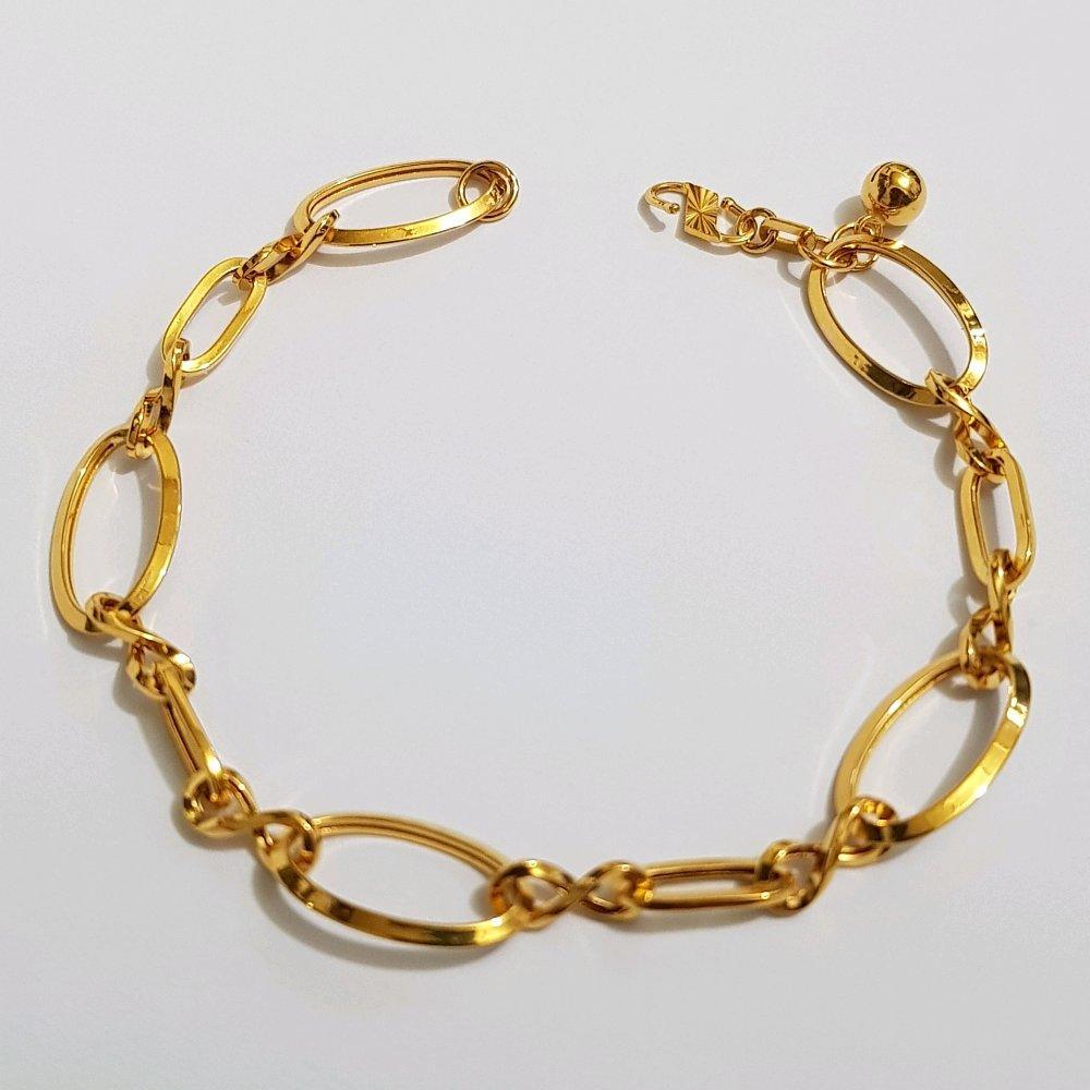 Gelang Emas Asli Kadar 875 Gelang Mocca Oval Variasi Perhiasan Gelang Wanita Gold By Yukon Gold.