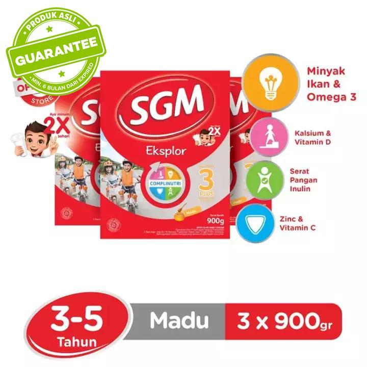 SGM Eksplor Complinutri 3+ Susu Pertumbuhan - Madu - 900gr - Bundle isi 3 Box