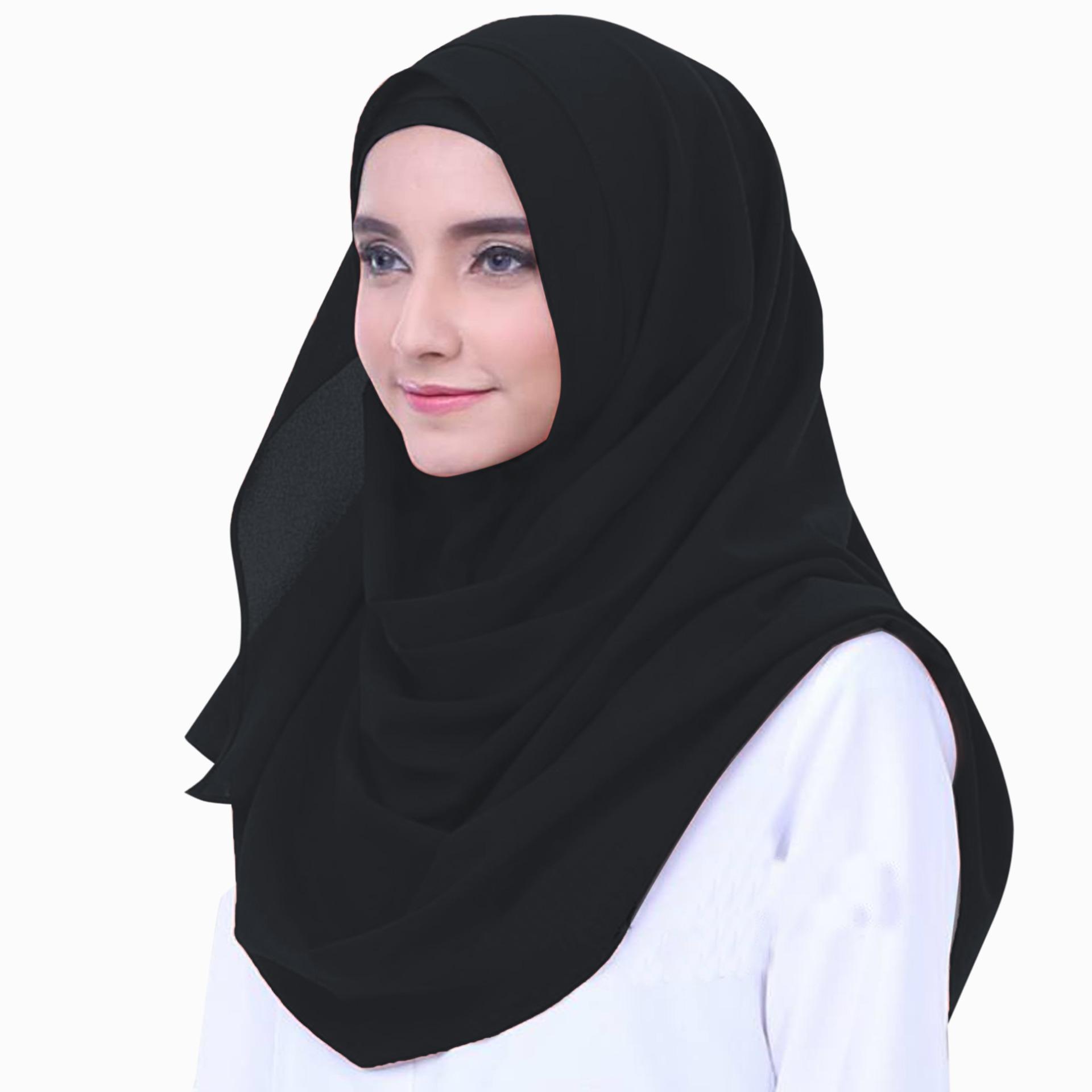 Merina Hijab Jilbab Pasmina Instan Ceruti [Warna Hitam]