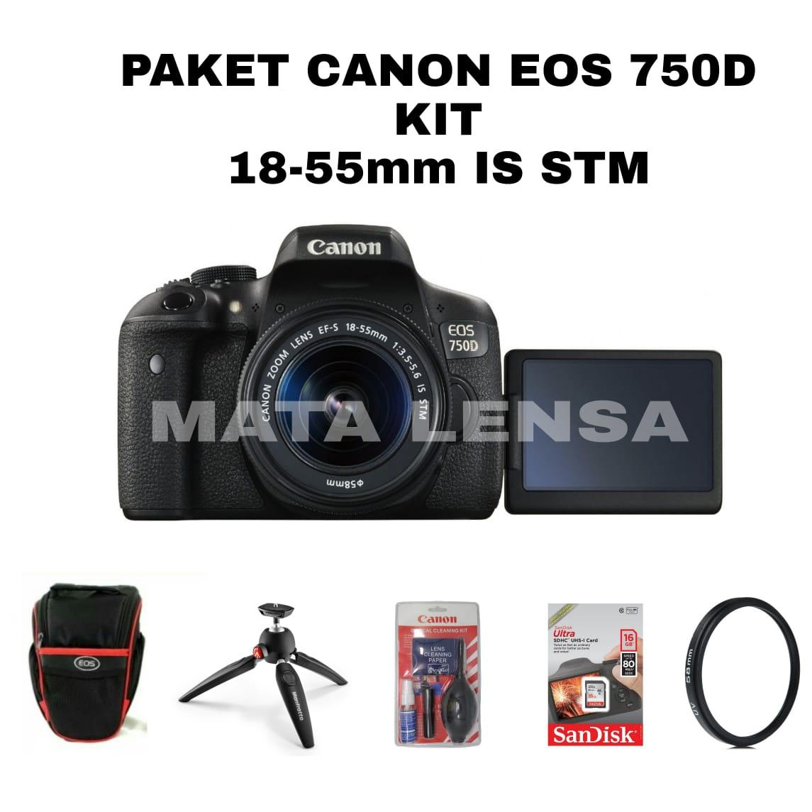 PROMO Paket Kamera / Camera Canon EOS 750D Kit (EF-S18-55mm IS STM) Original Bergaransi
