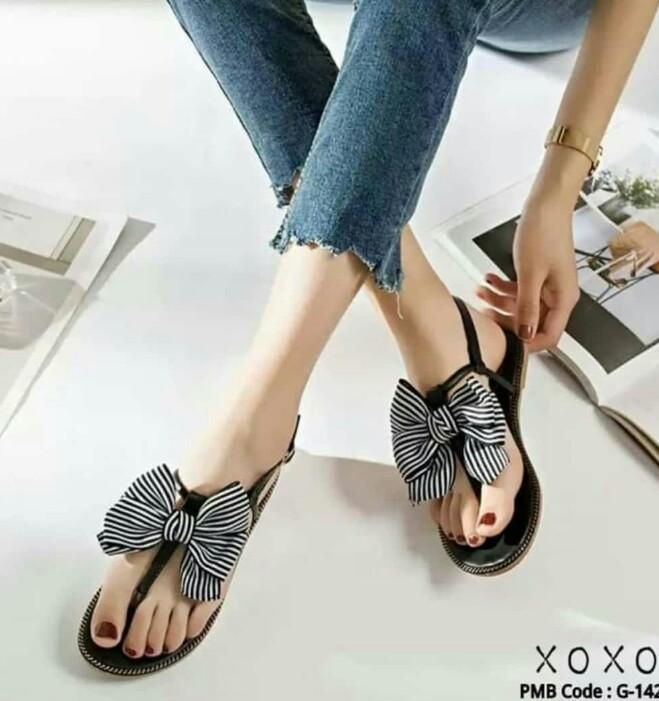 Mz sandal wanita jepit tali variasi pita
