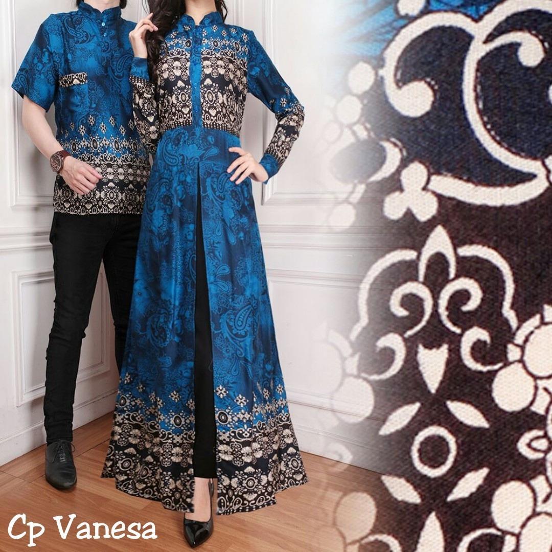 Baju Pasangan Pesta / Couple Gamis Vanesa Plus Kemeja Pria Warna Biru