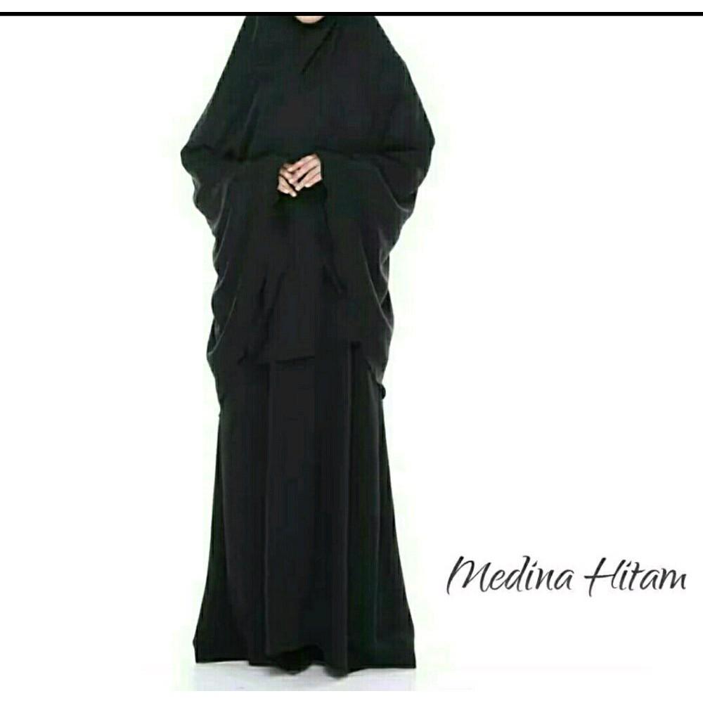 Gamis Syari Syar'i Set Hijab dan Cadar Bahan Wolfis Wollpeach (Maroon)