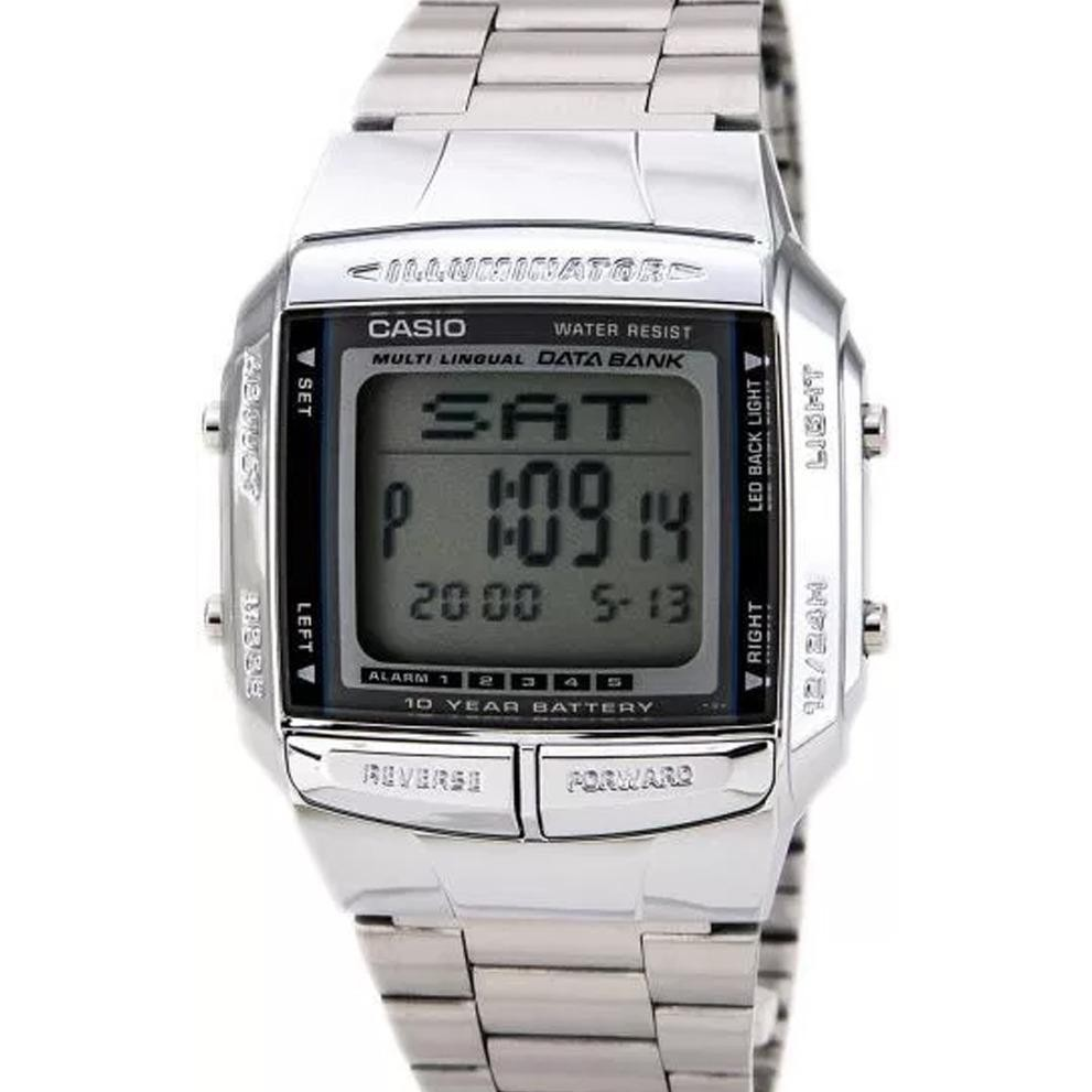 CASIO DB-360-1ADF - Data Bank - Square Shape - Dual Time - Telememo - Jam Tangan Unisex - Bahan Tali Stainless Steel - Silver