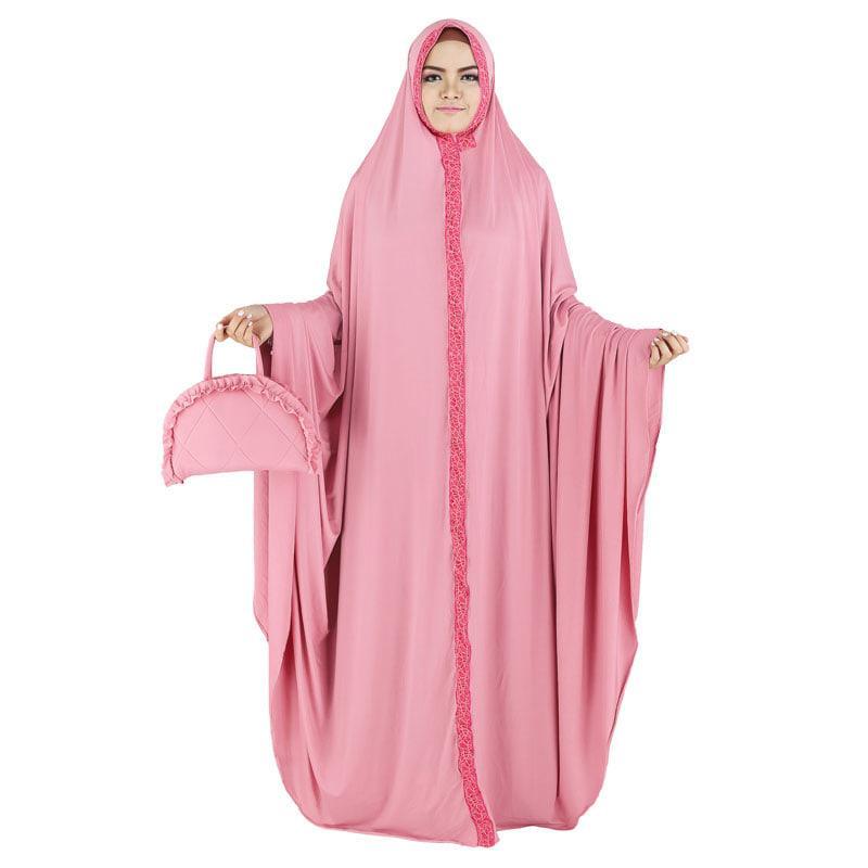 Mukena Spandex Wanita Cewe Remaja Dewasa Spandek Warna Pink RAO 057 RZ