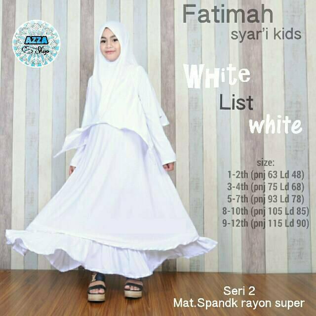 Fatimah Putih White Syari Gamis Busana Muslim Baju Anak Balita Remaja Girl Cewek Perempuan Lebaran (5-7 thn)