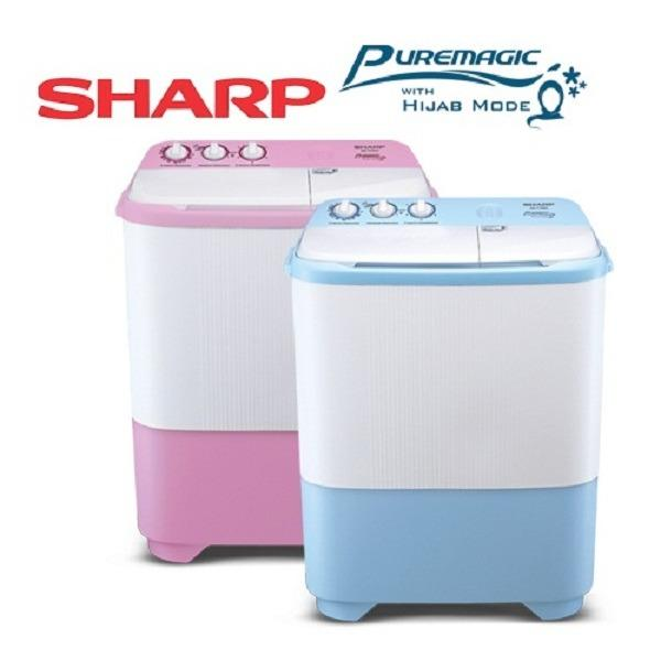 Sharp EST-79SJ-BL/PK Hijab Series Mesin Cuci Twin Tub 7.5Kg
