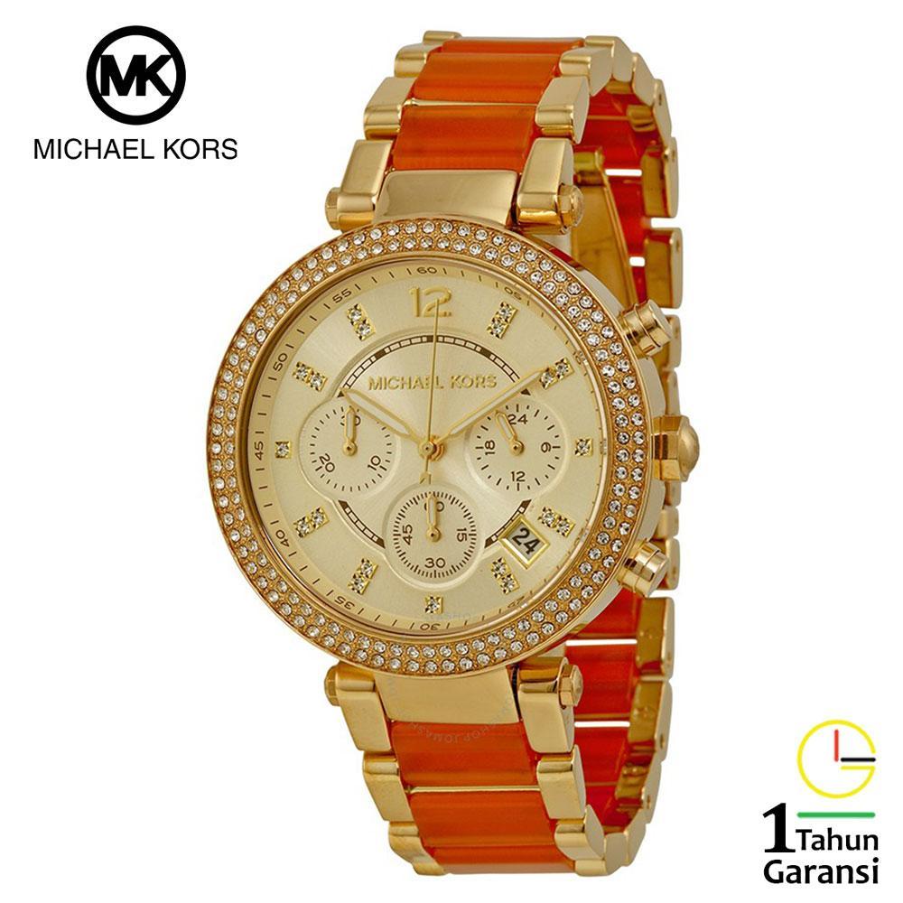 Michael Kors MK6139 Watch Original Jam Tangan Wanita Michael Kors Parker Two Tone Tali Rantai Stain