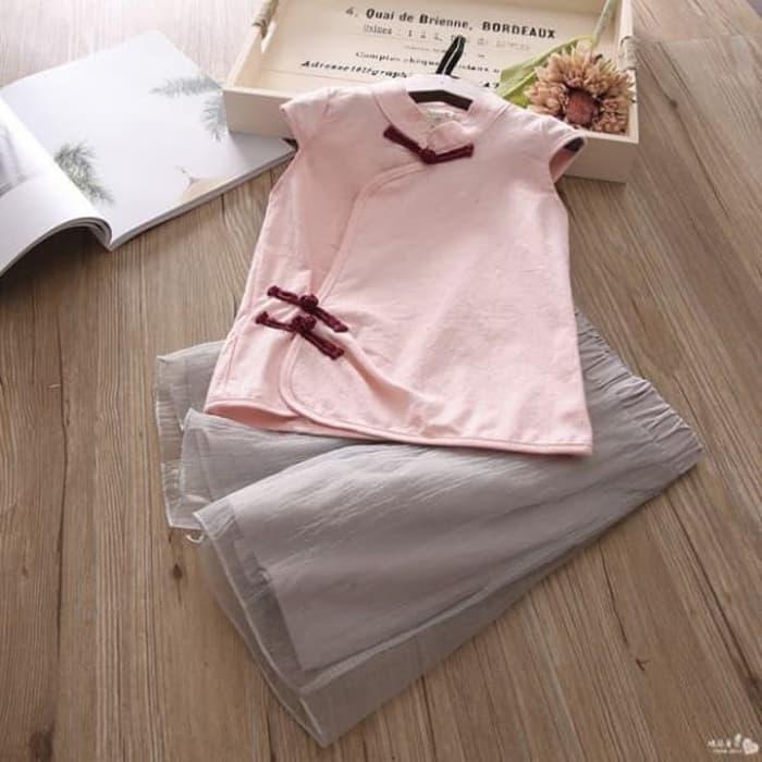 [ update terbaru ]  Baju Setelan Anak Perempuan Import Cheongsam Salem Kulot Abu Organdi