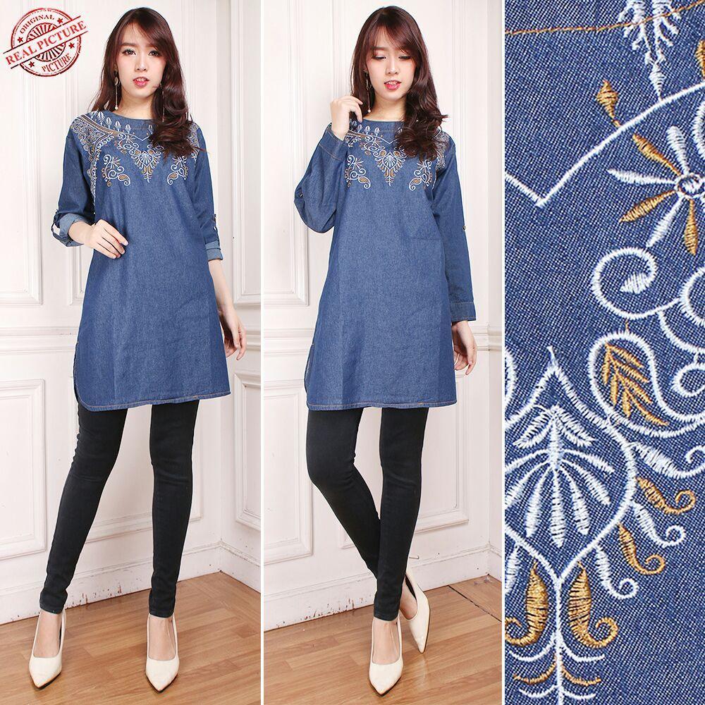 TJ Collection Atasan Blouse Mahania Kemeja Jeans Jumbo Wanita