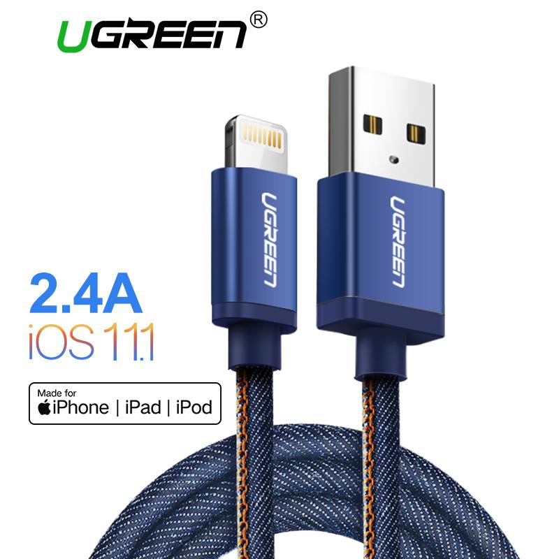 UGREEN 200CM MFi Lightning Cable MFI for Apple iPhone X/8/7/7 Plus iPhone 6/5S/6S iPad iPod Fast Charging Denim Braided Data Sync Cable Blue