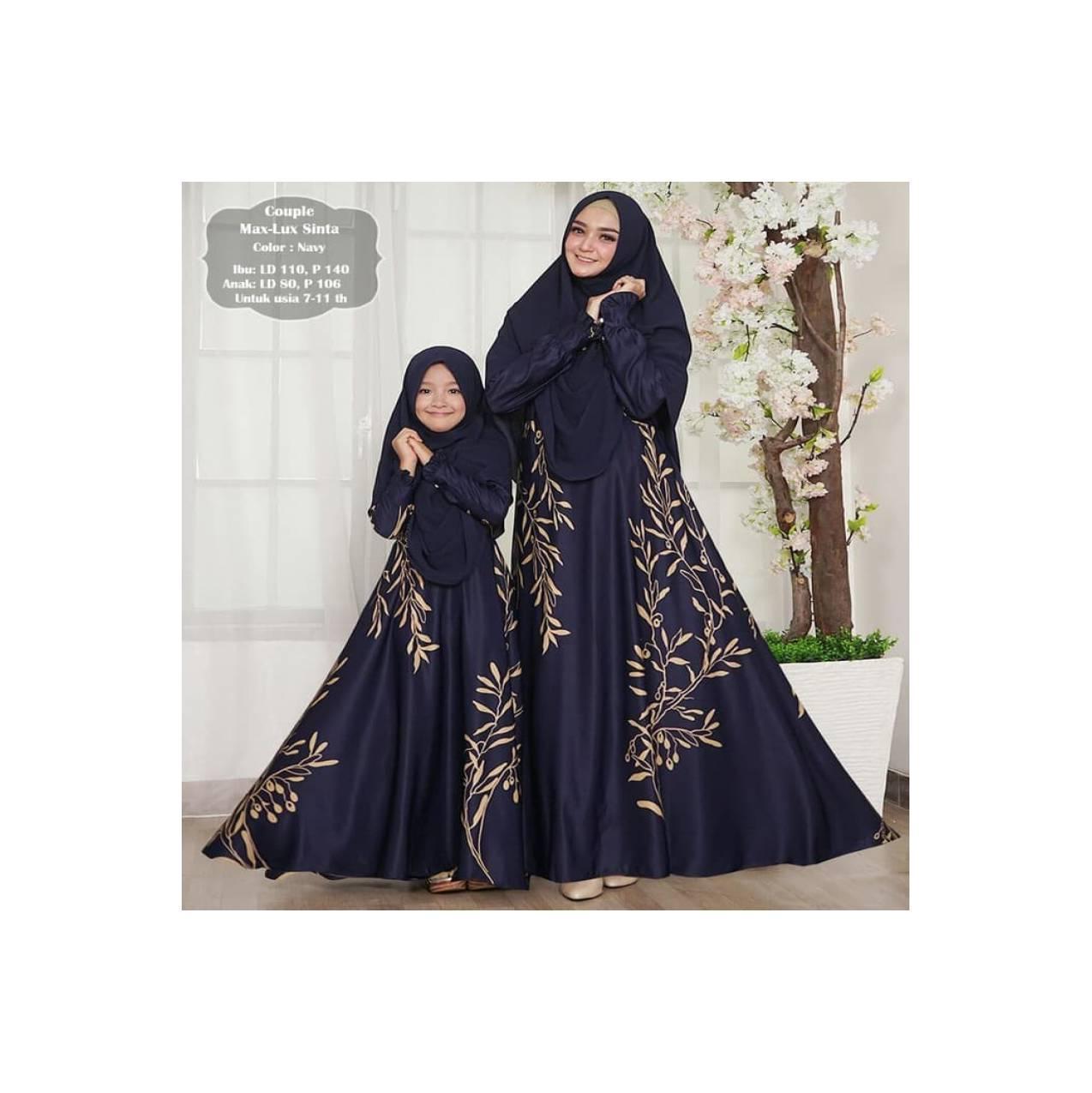 mk maxmara lux - gamis couple ibu dan anak / long dress muslim busui