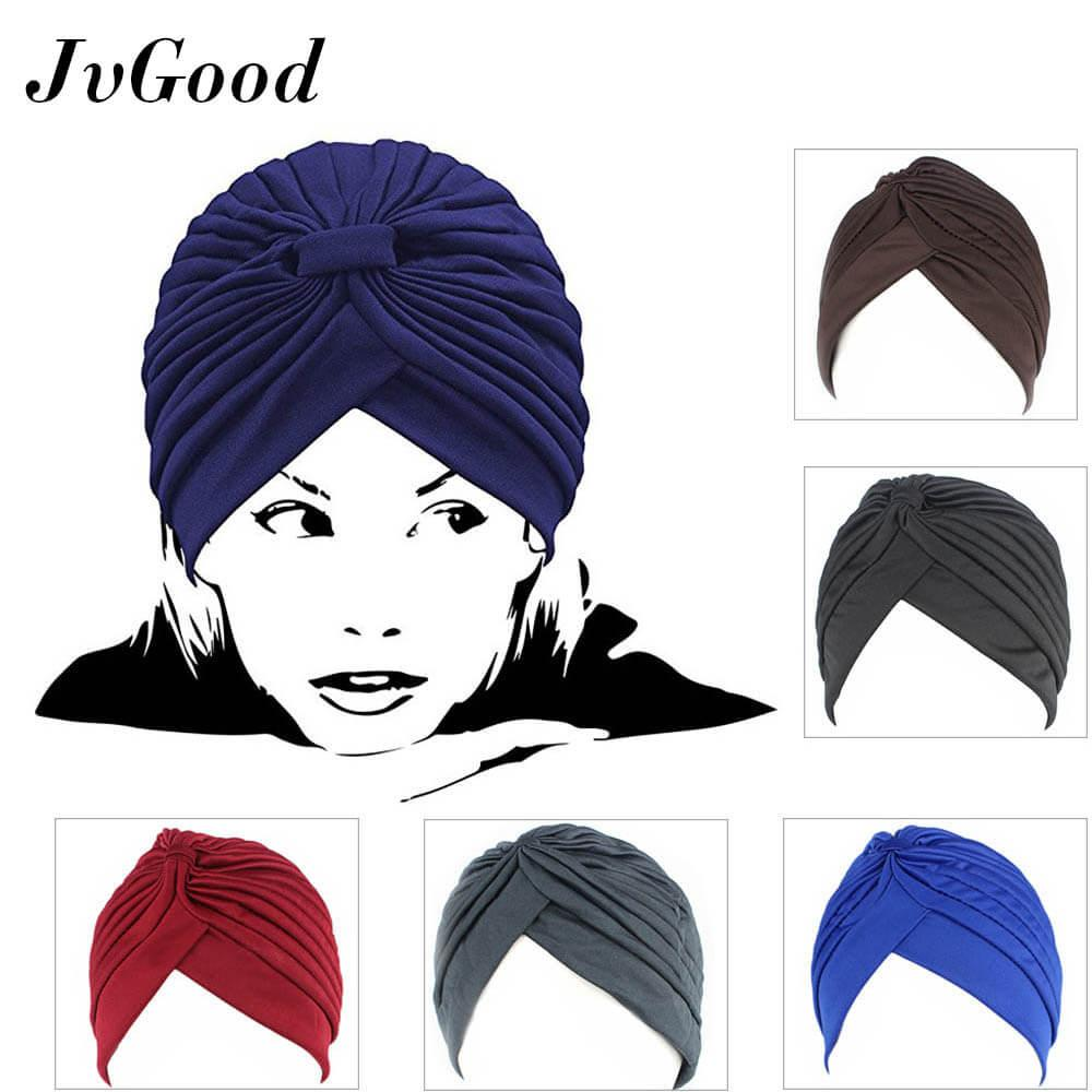 JvGood Ciput Inner Rajut Anti Pusing Women's 5 Pack Pleated Stretchable Head Wrap Knit Pre Tied Chemo Hat Bonnet Turban Muslim lady hooded India hat Baotou Hat Hair Wrap Cover Up Sun Hat Halal Ramadan (Available in 5 colors)
