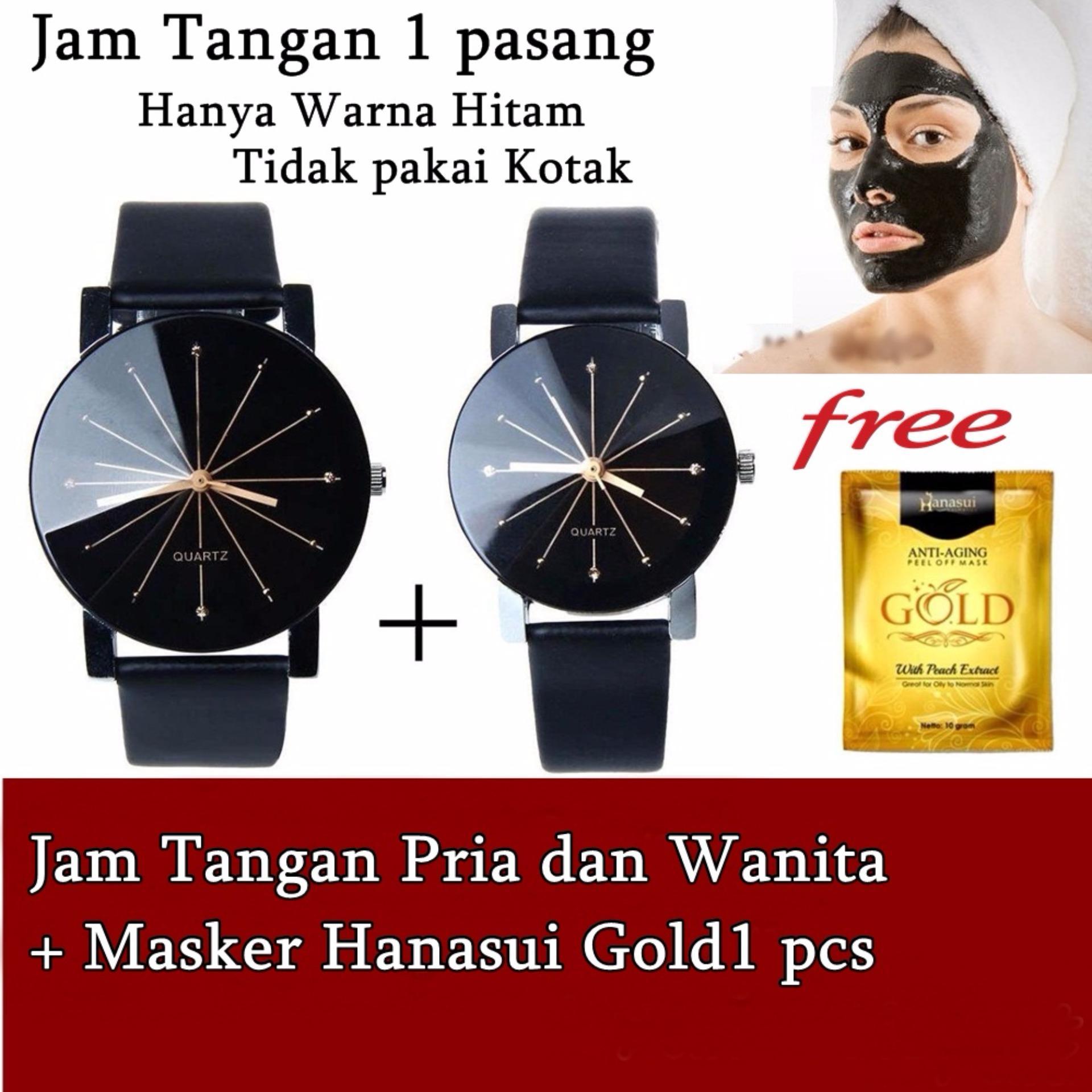 JBS Jam Tangan Wanita Dan Pria - Strap Kulit Sintesis - Case Stainless Steel -masker  Hanasui Gold 1 Pcs