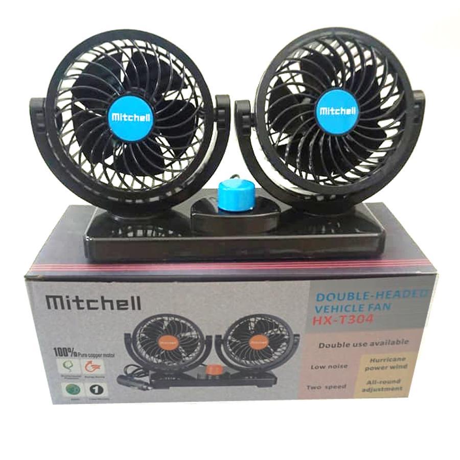 Kipas Angin Mobil Mitchell Dual Head 360 Degree Mini Electric Car Fan 12Volt