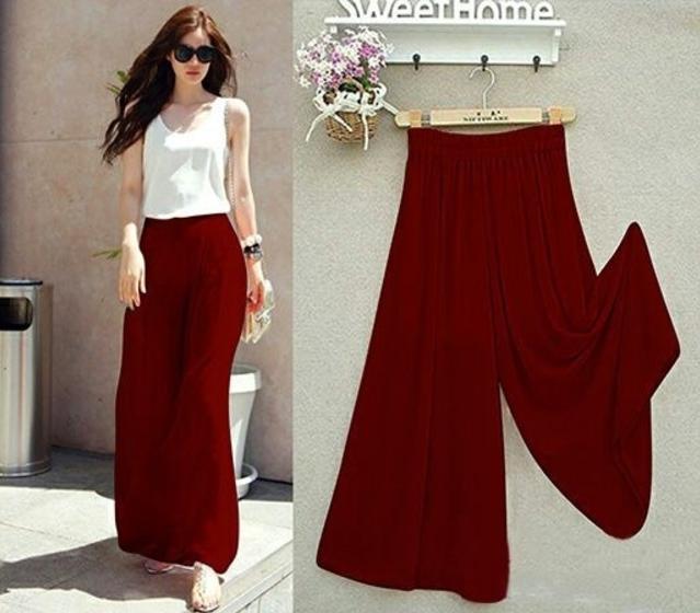 PROMO Celana Kulot Wanita Korea Spandex Merah Ati - Maron  TERLARIS